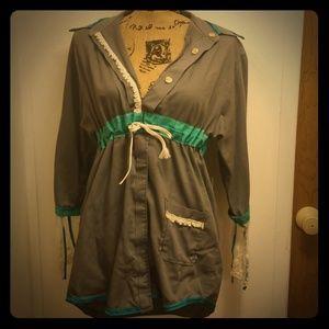 Vintage Handmade Refashion Gray Turquoise Tunic